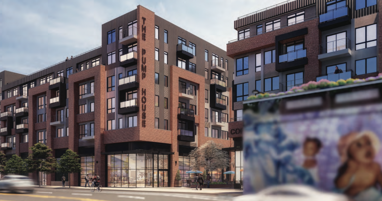 An artist's rendering shows an apartment complex planned for 2157 E. Lehigh Ave. Some in the neighborhood want the wall running alongside the development on Lehigh to be torn down.(DesignBlendz/B.S.K.M./PlanPhilly.)