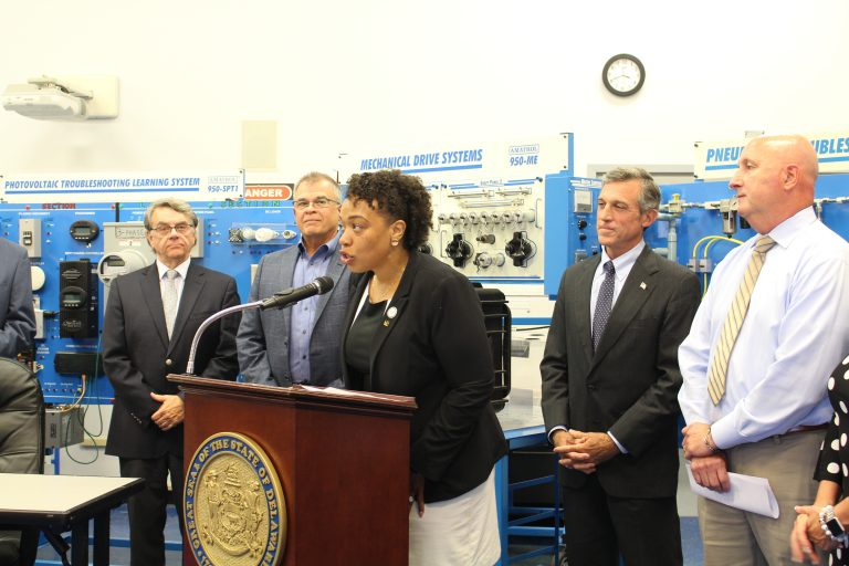 State Rep. Melissa Minor-Brown speaks at a bill signing ceremony at Delaware Technical Community College's Innovation and Technology Center in New Castle. (Courtesy of Gov. Carney staff)