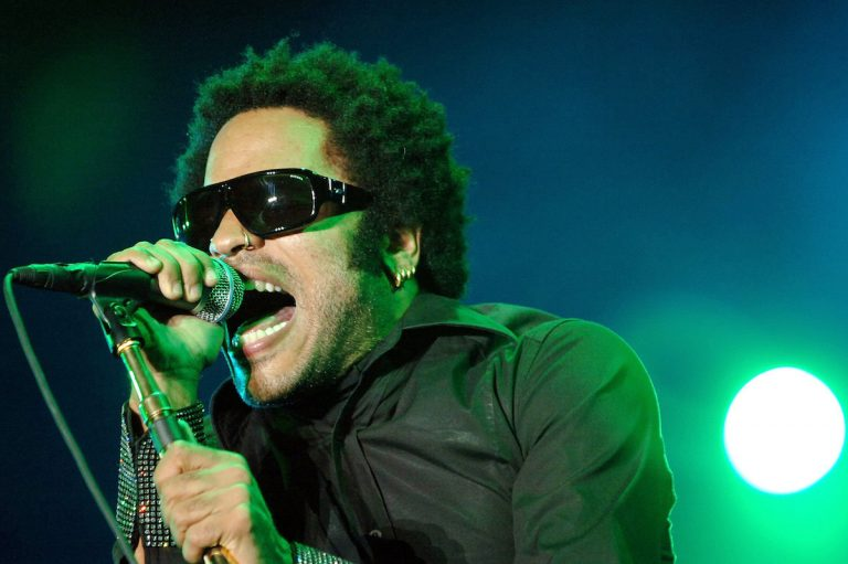 U.S. singer Lenny Kravitz performs on the main stage during the opening day of the Paleo Festiva in Nyon, Switzerland, late Tuesday, July 19, 2005.  (AP Photo/Keystone, Laurent Gillieron)