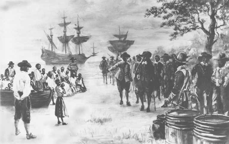 This painting by Sidney King depicts Virginia in 1619 as a Dutch frigate docks at Point Comfort bringing 20 African slaves to be traded to the settlers for food. (AP Photo)
