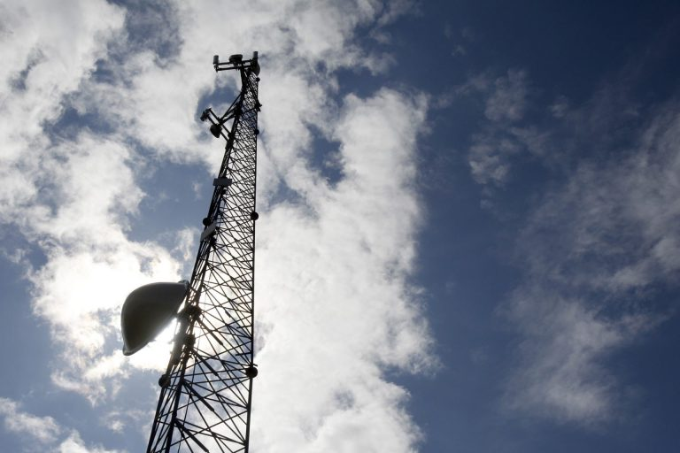 A new broadband tower rises into the sky on Wednesday, June 6, 2012 in Plainfield, Vt. (AP Photo)