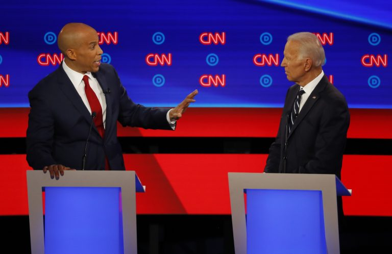 Sen. Cory Booker, D-N.J., gestures to former Vice President Joe Biden during the second of two Democratic presidential primary debates hosted by CNN Wednesday, July 31, 2019, in the Fox Theatre in Detroit. (Paul Sancya/AP Photo)