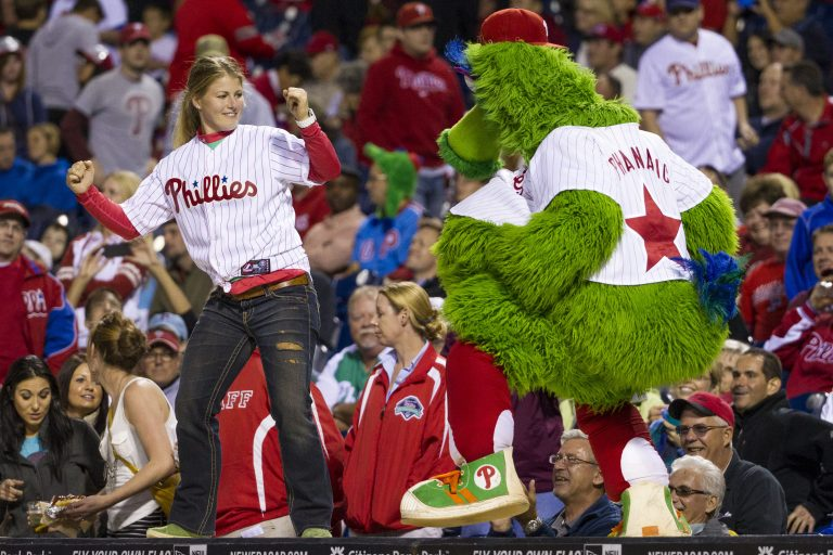 The Philadelphia Phillies have sued the New York company that created the Phanatic mascot to prevent the green fuzzy fan favorite from becoming a free agent. (Chris Szagola/AP Photo)