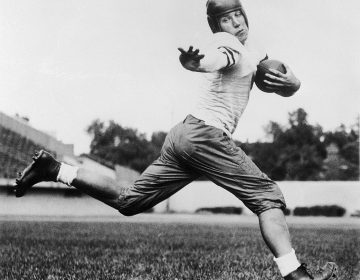 In this 1934 file photo, University of Chicago halfback Jay Berwanger is shown in the action pose that served as the model for the Heisman Trophy. In the early days of the NFL, college football was king and playing the game professionally was not necessarily something players aspired to do. (AP Photo/File)