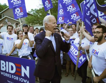 Former Vice President and Democratic presidential candidate Joe Biden meets with supporters before speaking at the Iowa Democratic Wing Ding at the Surf Ballroom, Friday, Aug. 9, 2019, in Clear Lake, Iowa. (John Locher/AP Photo)