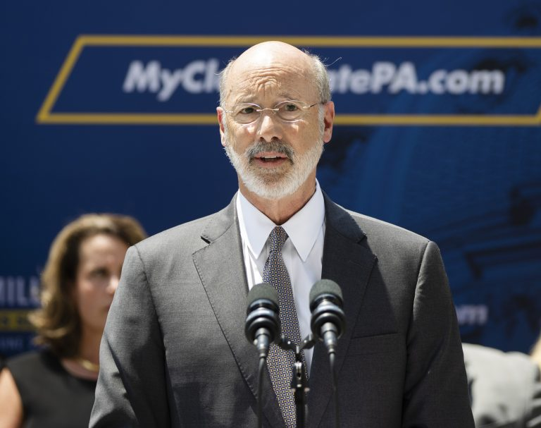 In a Friday, June 28, 2019 file photo, Pennsylvania Gov. Tom Wolf speaks during a news conference in Harrisburg, Pa. Wolf says four children in his state were recently separated from their parents by U.S. Immigration and Customs Enforcement, and he's demanding a stop to the practice until there's a plan to ensure children's welfare. (Matt Rourke/AP Photo, File)