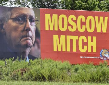 A billboard in Horse Cave, Ky., referring to Senate Majority Leader Mitch McConnell, R-Ky. as Moscow Mitch has been erected on northbound I-65 Tuesday, Aug. 13, 2019. (AP Photo/Timothy D. Easley)
