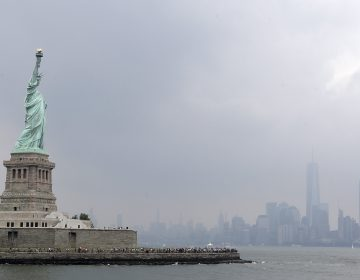 This photo shows the Statue of Liberty on a stormy afternoon in New York on Wednesday, Aug. 14, 2019. (Kathy Willens/AP Photo)
