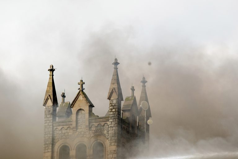 Greater Bible Way Temple burns from a fire in the Parkside neighborhood, Tuesday, Aug. 27, 2019, in Philadelphia. (Margo Reed/The Philadelphia Inquirer via AP)