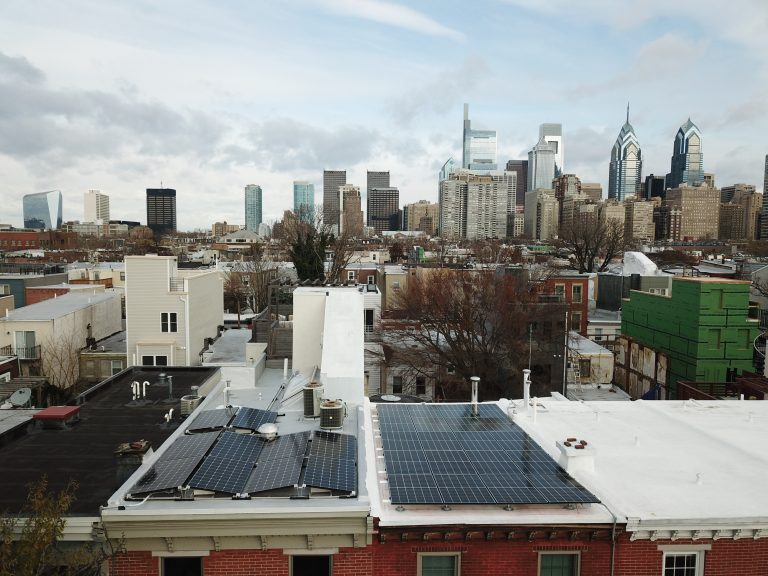 Solar panels on Philadelphia rowhouses. (Adam Stein for Solar States)