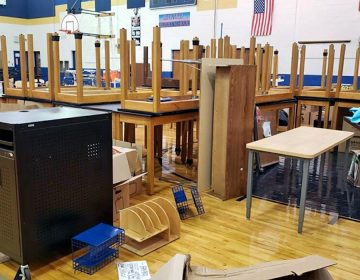 Chairs, desks and other equipment cluttered the gymnasium at Bayard on Aug. 16, four days after school opened. (Courtesy of Sherry Dorsey Walker)