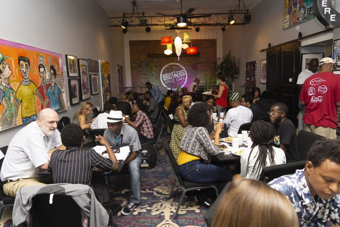 Representatives of the Chester Made Project enjoy a working lunch with groups of Mandela Washington Fellows in the Jazz Cafe of Brothers Restaurant and Juice Bar during the Chester Made and Mandela Washington Fellowship Exchange 2019. (Greg Irvin)