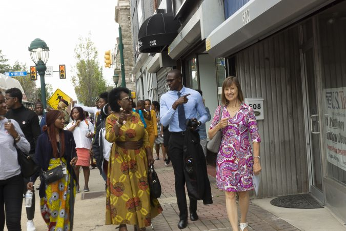Mandela Washington Fellows and Chester Made Representatives tour Chester businesses along the Avenue of the States in Chester, Pa as part of the Chester Made and Mandela Washington Fellowship Exchange 2019. (Greg Irvin)