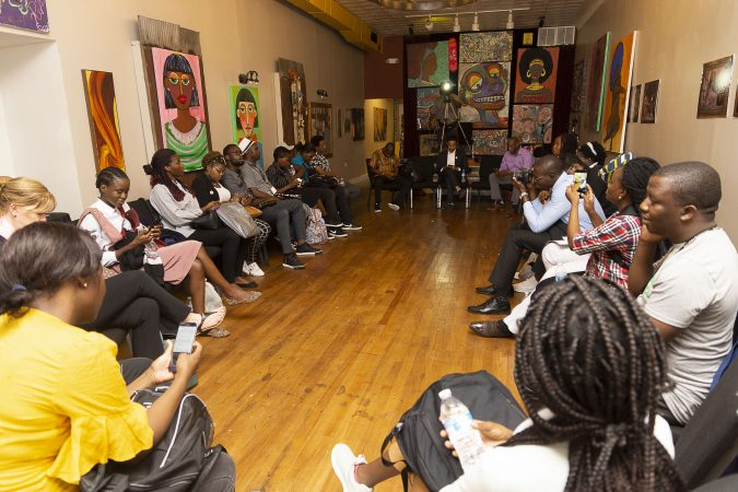 The Chester Made and Mandela Washington Fellowship Exchange 2019 ends with a large group discussion where Fellows and Chester Made representatives share their greatest take-aways from the day. (Greg Irvin)