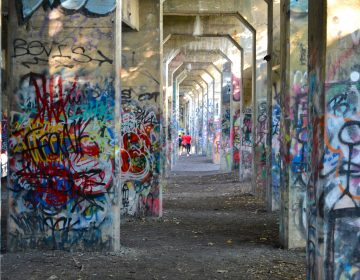 Visitors walk under the arches of Graffiti Pier. (Joel Wolfram for WHYY)