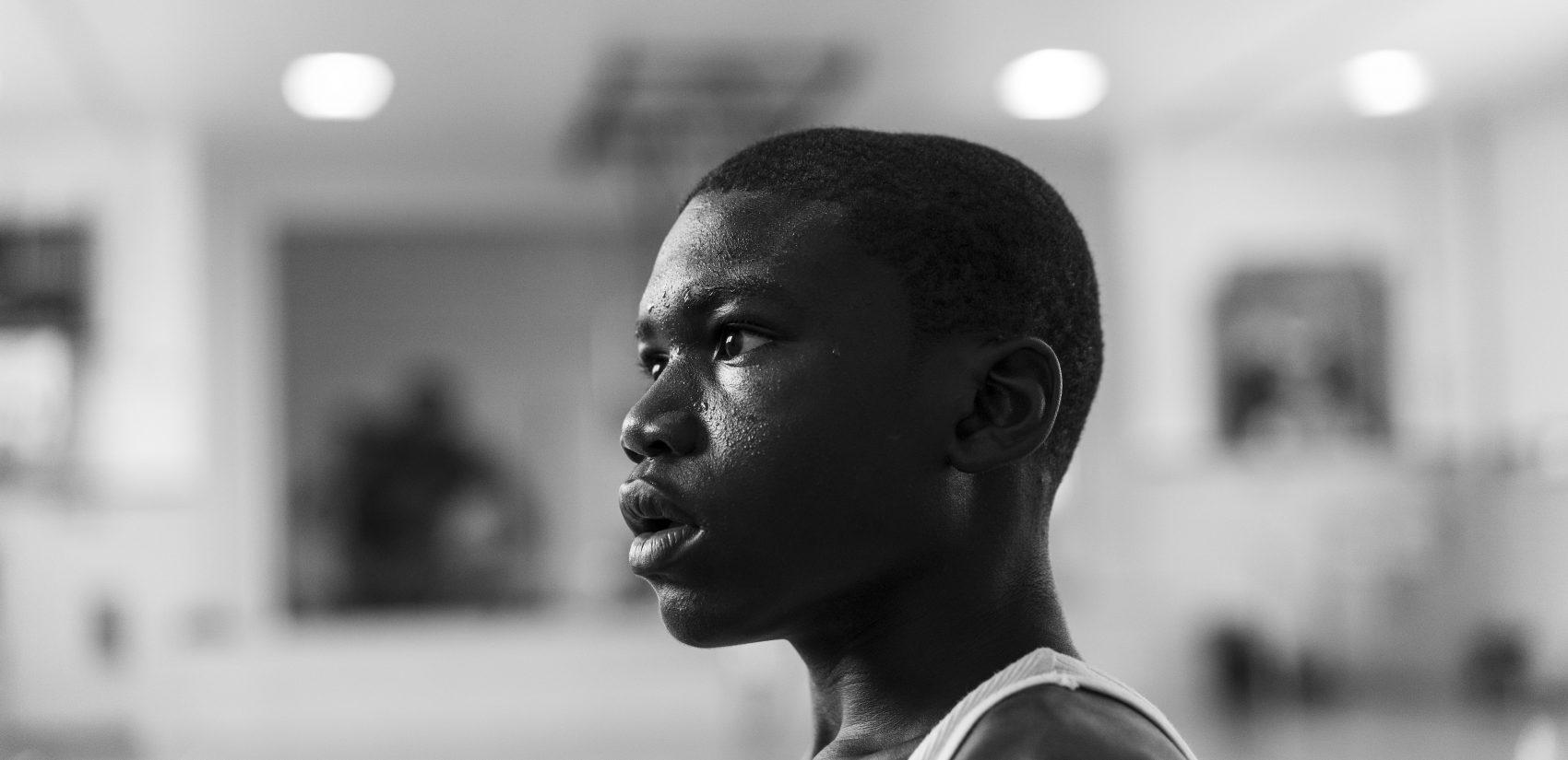 Qu-ran, 13, at basketball practice at Gathers. (Jessica Kourkounis for Keystone Crossroads)