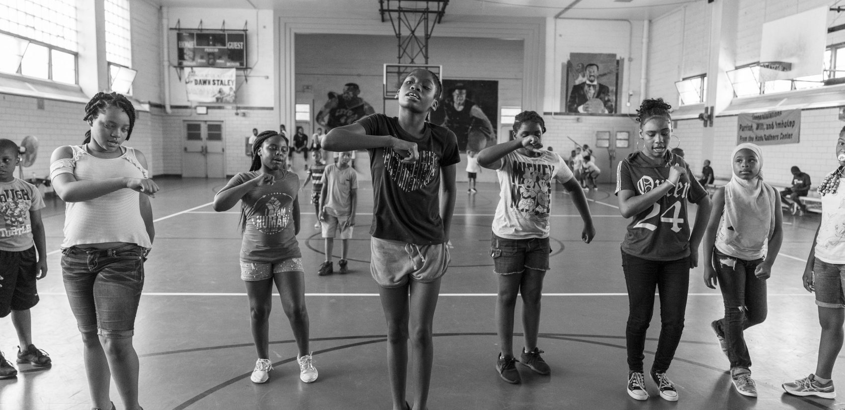 Girls practice a dance routine during day camp at Gathers in July 2018. (Jessica Kourkounis for Keystone Crossroads)