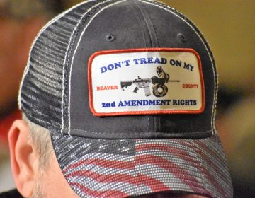 A man wears a 'Don't Tread On My 2nd Amendment Rights' hat in the state Capitol during a rally on May 6, 2019. (Ed Mahon/PA Post)