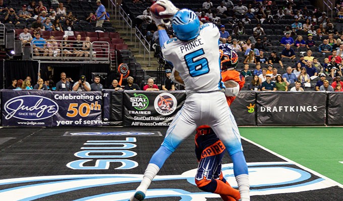 The Philadelphia Soul's Darius Prince makes a touchdown catch in 2019 season regular game. (Courtesy of The Philadelphia Soul)