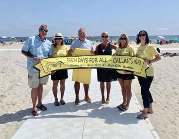 Beach Days for All founders Chris Aldrich (far left) and Jessica Miscio (second from right) stand with supporters Friday at the newly handicapped-accessible Maryland Avenue beach in Point Pleasant Beach. (Courtesy of Beach Days for All)