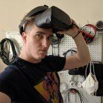Kier Simmons wearing a VR headset (Courtesy Kier Simmons)
