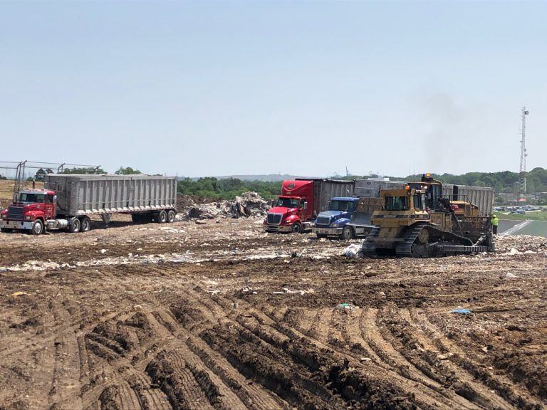 WHYY visited the top of the landfill in June. (Cris Barrish/WHYY)