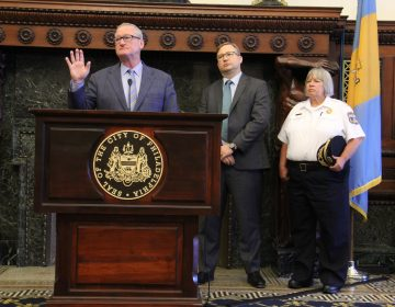 Mayor Jim Kenney speaks at a press conference regarding Philadelphia Police Commissioner Richard Ross' resignation. (Emma Lee/WHYY)
