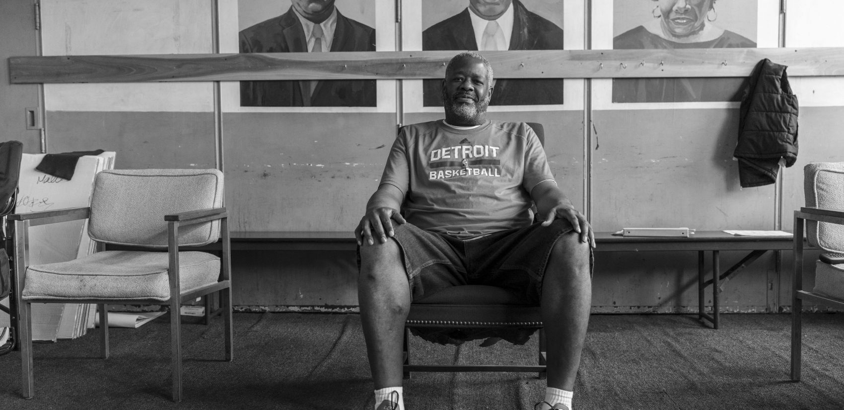 "Jimmy Richardson, who often wears t-shirts of the teams the Morris twins have played on, has worked at Gathers since 1991. ""I know a lot of the kids are going through some issues. I just talk to them and let them know it can get better...trouble is easy to get into and hard to get out of."" (Jessica Kourkounis for Keystone Crossroads)"