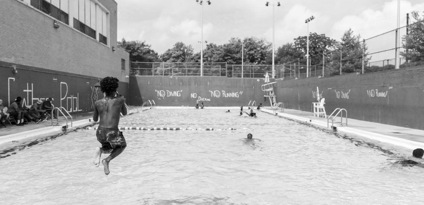 An oasis of North Philadelphia, the Hank Gathers Rec Center pool. (Jessica Kourkounis for Keystone Crossroads)