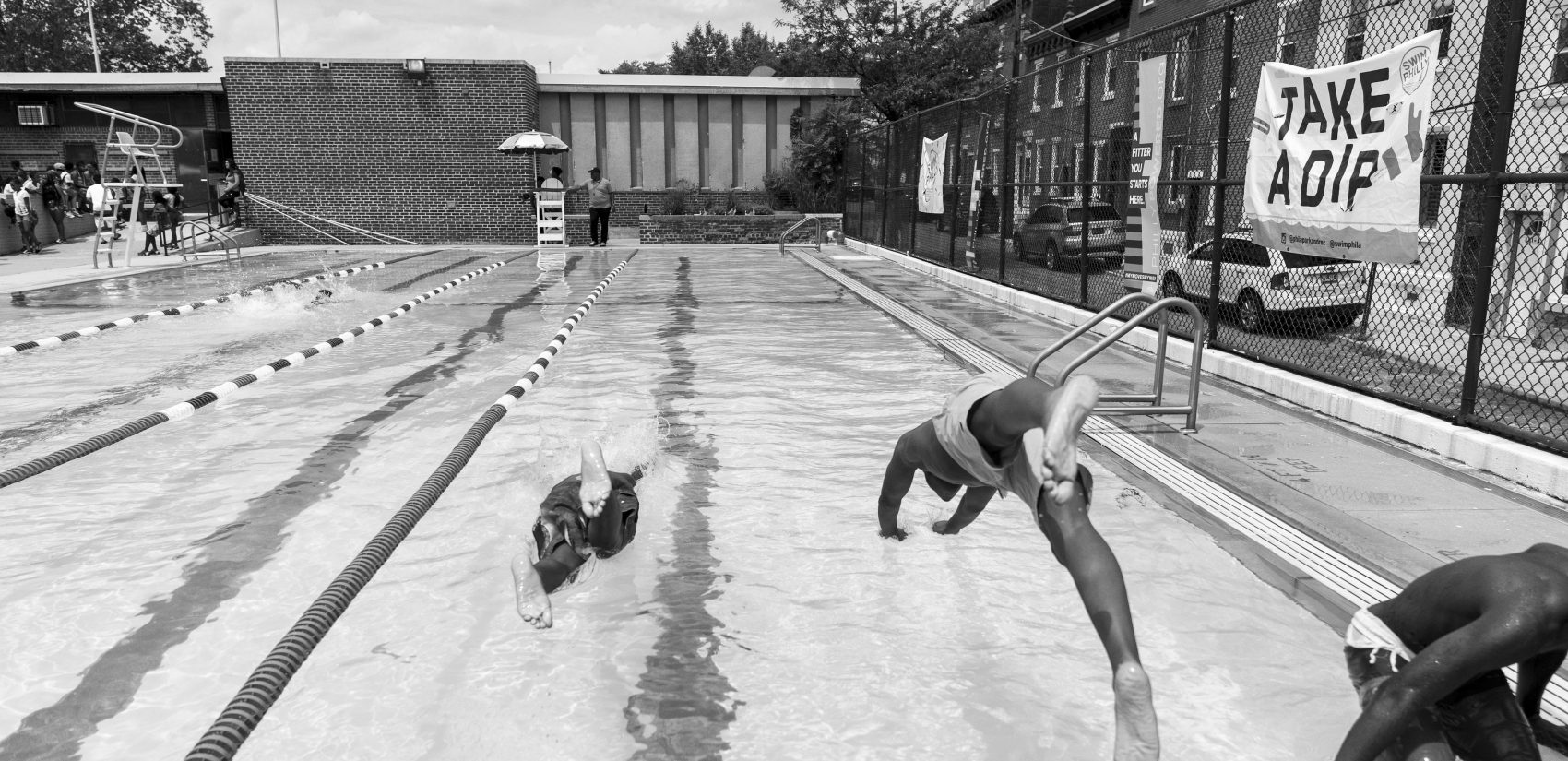 A swim meet hosted by Francisville Playground, which is a mile and a half from Gathers towards Center City Philadelphia. (Photograph by Jessica Kourkounis)