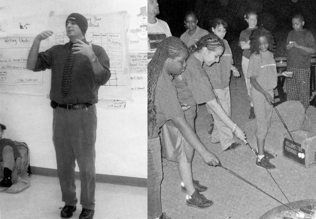 School founder Marc Mannella (left in 2005) tried to incentivize good behavior by taking students on big, out-of-town trips like this 2006 trip to Utah (right). (Photos from KIPP Philadelphia yearbooks)