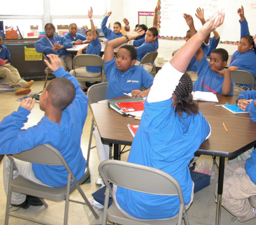 Early KIPP Philadelphia students wore blue school uniforms, unless they were in trouble. (Photo provided by KIPP Philadelphia Schools)