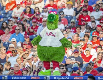 The Phillie Phanatic during a baseball game between the Philadelphia Phillies and the Colorado Rockies, Saturday, May 18, 2019, in Philadelphia. (Laurence Kesterson/AP Photo)