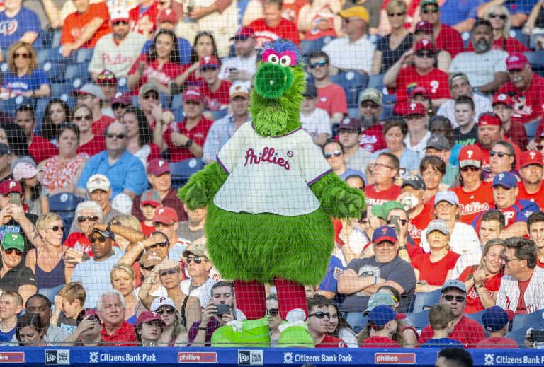 The Phillie Phanatic during a baseball game between the Philadelphia Phillies and the Colorado Rockies, Saturday, May 18, 2019, in Philadelphia. (AP Photo/Laurence Kesterson)