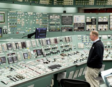 This May 22, 2017, file photo, shows the control room at the Three Mile Island nuclear power plant in Middletown, Pa. (AP Photo/Matt Rourke, File)