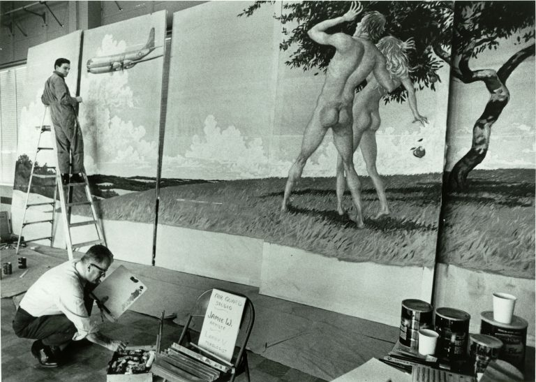 Jamie Wyeth, then in his early 20s, works from a stepladder while creating the mural for the Delaware Air National Guard. (Courtesy of Jamie Wyeth)