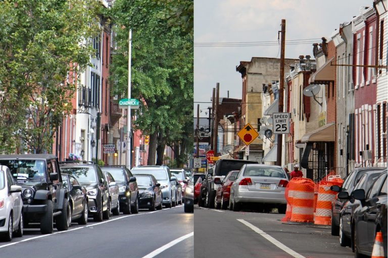 Leafy Pine Street in Center City is contrasted with treeless North 5th Street in Hunting Park. (Emma Lee/WHYY)