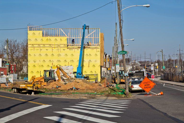 3300 Mantua Avenue is one of many new developments utilizing wood frames. (Kimberly Paynter/WHYY)