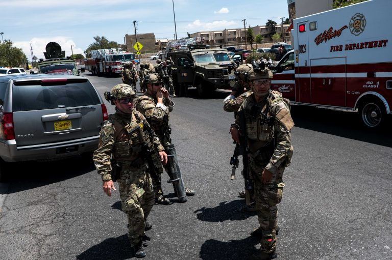 Law enforcement agencies respond to an active shooter at a Walmart near the Cielo Vista Mall in El Paso, Texas, on Saturday. (Joel Angel Juarez/AFP/Getty Images)