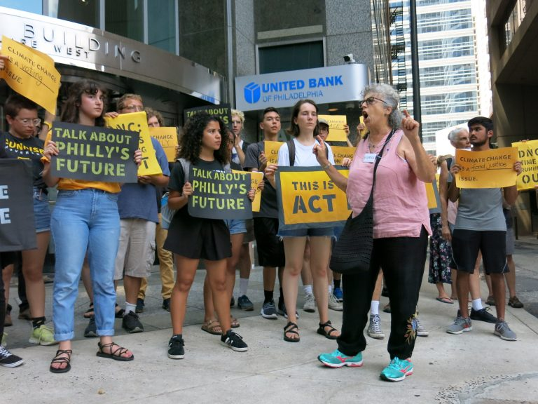 The Sunrise Movement organized protests like this one in July 2019 in Philadelphia to pressure the Democratic National Committee to hold a primary debate focused on climate change. (Jeff Brady/NPR)