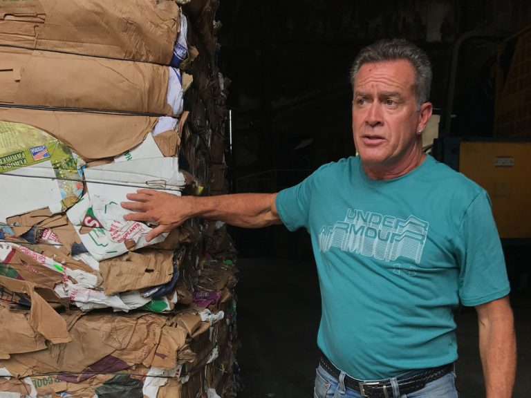 Kevin Carducci is part owner and plant manager of Omni Recycling. He says it costs the business $1 million a year to get rid of the plastics that can't be recycled. (Rebecca Davis/NPR)