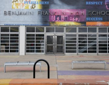 This file photo shows the Benjamin Franklin High School located on North Broad Street. The building will now house both Benjamin Franklin High School and the Science Leadership Academy. The first day of school is delayed due to lingering construction (Nathaniel Hamilton For WHYY, file)