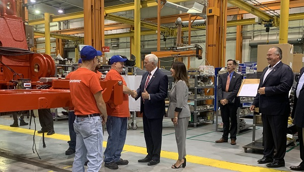 Vice President Mike Pence got a tour of a crane manufacturing facility in Pennsylvania on Thursday morning. (Katie Meyer/WITF)