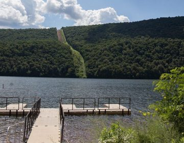 In the distance, construction of the Mariner East 2 pipeline at Raystown Lake Recreation Area in Huntingdon County, Pennsylvania. (StateImpact Pennsylvania/Lindsay Lazarski)