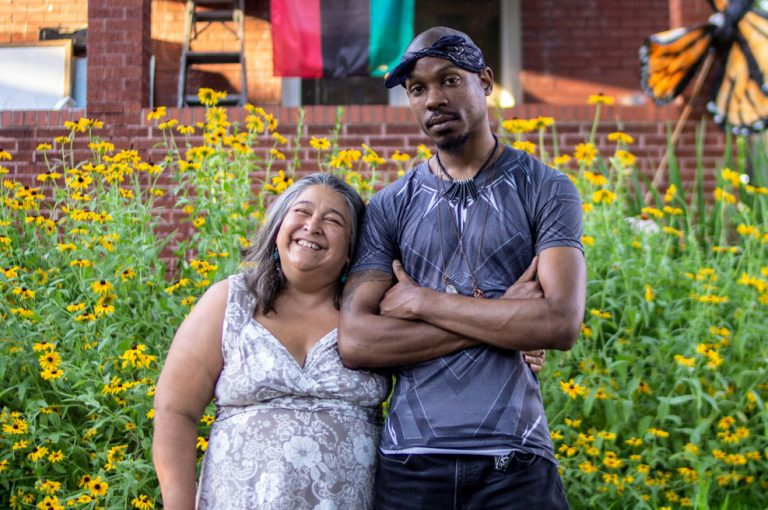 Elizabeth Vega and Jamell Spann became friends after Vega comforted an emotional Spann while they were protesting in Ferguson, Mo., as strangers in 2014. (Dupe Oyebolu for StoryCorps)