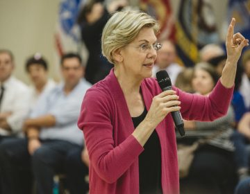 Elizabeth Warren at a campaign stop at the AMVETS in Chillicothe, Ohio, on May 10. Warren released her plan to combat gun violence on Saturday. (Andrew Spear for NPR)