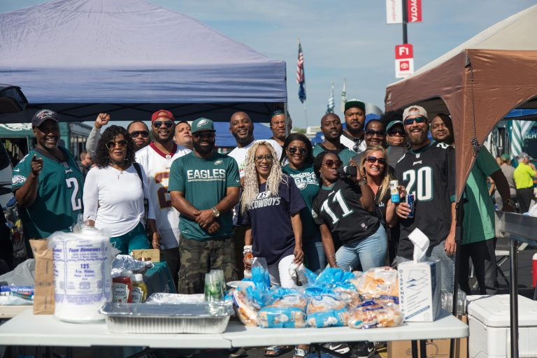 A group of friends from Coatesville have been coming together for 8 years for the Eagles season opener. (Emily Cohen for WHYY)