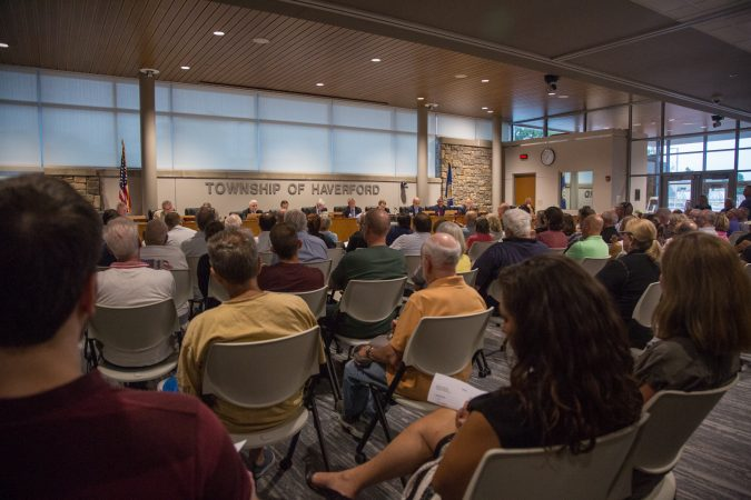 There was standing room only when the Haverford Board of Commissioners met on Monday, September 9, 2019.  (Emily Cohen for WHYY)