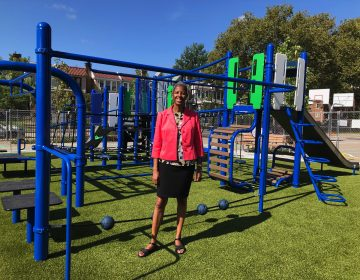 Roslynn Green has been principal at Ben Franklin for 15 years. Until now, the school yard has been entirely concrete.  (Nina Feldman/WHYY)