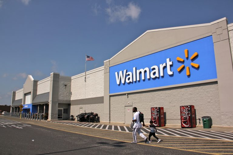 Customers leave a Walmart in Blackwood, N.J.  (Emma Lee/WHYY)